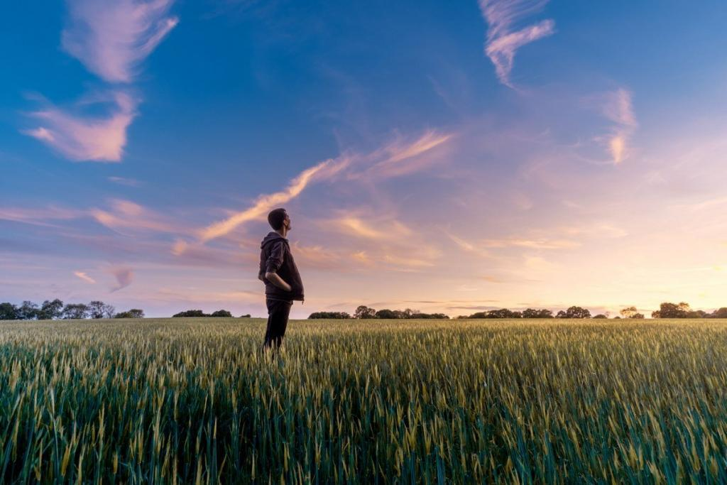 A young man in a green field that looks up to a beautiful blue golden sky wondering what is hypnotherapy