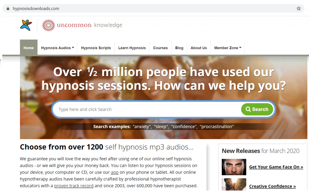 Homepage of Hypnosis Download, a hypnosis website for self hypnosis MP3