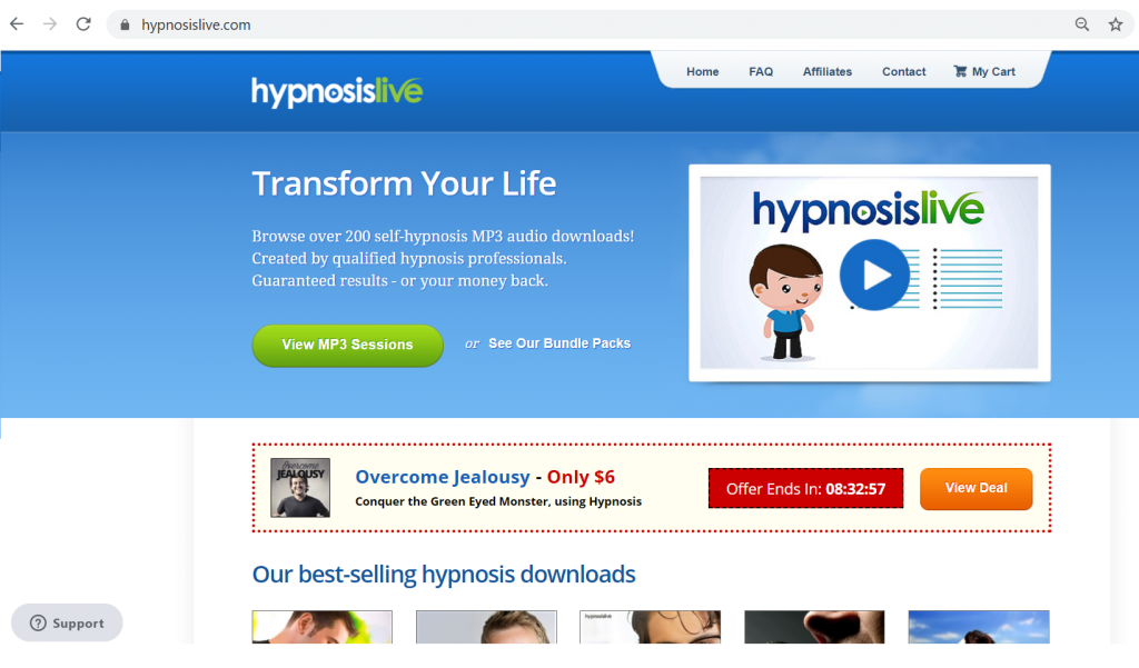 The homepage of self hypnosis website HypnosisLive for Hypnosis MP3