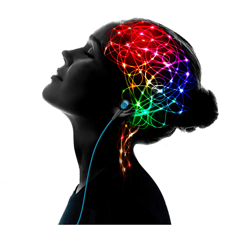A woman listening to free Raikov Effect MP3 for changing her mindset.