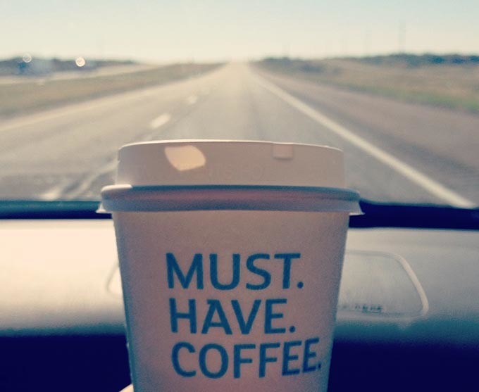 You can prevent highway hypnosis by drinking a cup of coffee.