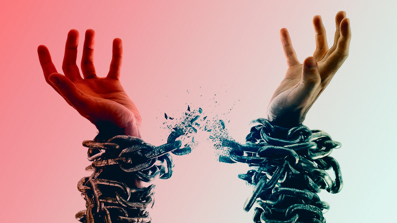 A person breaking the chains of addictions.